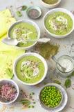 Vegetarisk kräm- soppa som göras med potataoes och gröna grönsaker - zucchinin, gröna ärtor, spenat tjänade som med yoghurt arkivbild