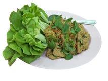 Vegetarisk mat och grönsallat med vit bakgrund arkivfoto