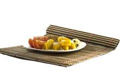 Vegetarisk mat på en filt Arkivfoton
