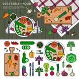 Vegetarisk mat på tabellen Royaltyfria Foton