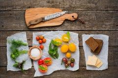 Vegetarisk mat Tomater med örter, bröd och royaltyfri foto