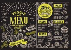 Vegetarisk meny för restaurang Vektormatreklamblad för stång och ca stock illustrationer