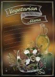 Vegetarisk menylista med kopieringsutrymme för text royaltyfri illustrationer