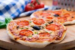 Vegetarisk mini- pizza Arkivbilder