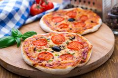 Vegetarisk mini- pizza Royaltyfri Bild