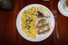 Vegetarisk omelett och ris för frukost arkivbild