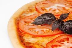 Vegetarisk pizza med ost och tomater Royaltyfria Foton
