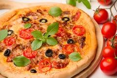Vegetarisk pizza med tomater, basilika och oliv Arkivbilder