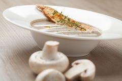 Vegetarisk purée för champinjonkrämsoppa med bakad brödost sl Fotografering för Bildbyråer