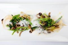 Vegetarisk ravioli med parmesan, broccoli, champinjon Royaltyfria Bilder