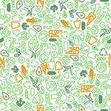 Vegetarisk sömlös modell av gröna grönsaker vektor illustrationer