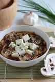 Vegetarisk soppa med tofuen och champinjoner Royaltyfria Bilder