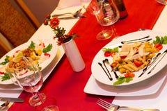 Vegetarisk tabell i restaurang Royaltyfri Foto