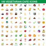 100 vegetariska kafésymboler uppsättning, tecknad filmstil Royaltyfria Bilder