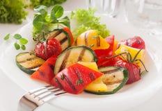 Vegetariska läckra grillade tärnade nya grönsaker Arkivbilder