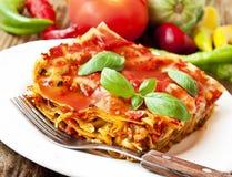 Vegetariska lasagner Arkivbild