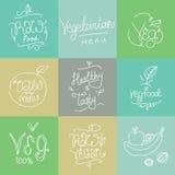 Vegetariska matetiketter Hand drog typografiska beståndsdelar Strikt vegetariankokkonst Rå foods stock illustrationer
