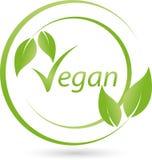 Vegetariskt symbol med sida-, strikt vegetarian- och naturlogo royaltyfri illustrationer