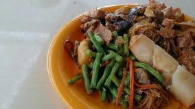 Vegetation food. Singapore local vegetation meehoon noodles popiah stock photo
