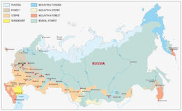 Vegetation map Russia Royalty Free Stock Images