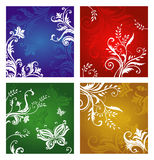Vegetative and flower ornament. Three types of a vegetative and flower ornament, green, red, dark blue and gold colors. A vector illustration Stock Photography