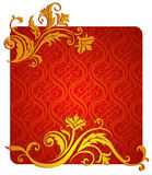 Vegetative and flower ornament. Red & gold colors. A vector illustration Stock Images