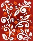 Vegetative pattern. White vegetative ornament with flowers on a red background Stock Image