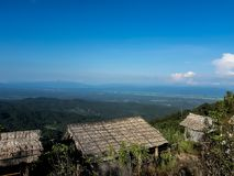 Vegetazione del terreno coltivabile sulle colline della Tailandia del Nord fotografie stock