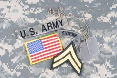 Vegetazione lussureggiante corporea dell'ESERCITO AMERICANO, linguetta del tiratore franco, toppa della bandiera, con la medaglie Immagini Stock Libere da Diritti