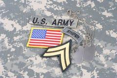 Vegetazione lussureggiante corporea dell'ESERCITO AMERICANO, linguetta del tiratore franco, toppa della bandiera, con la medaglie Immagine Stock