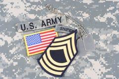 Vegetazione lussureggiante del sergente maggiore dell'ESERCITO AMERICANO, linguetta del tiratore franco, toppa della bandiera, co Fotografia Stock