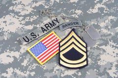 Vegetazione lussureggiante di sergente First Class dell'ESERCITO AMERICANO, linguetta del guardia forestale, toppa della bandiera Immagini Stock