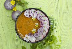 Vegeterian碗用萝卜和绿叶 免版税库存图片