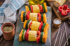 Vegeterian skewers for bbq garden party Royalty Free Stock Images