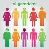 Vegeterians Homens e mulheres com vegetais pelo contrário a cabeça Foto de Stock