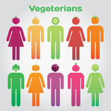 Vegeterians. Men and women with vegetables instead the head. Vector modern illustration, stylish design elememt Stock Photo
