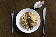 Vegeterianschotel met bonen en vogelbeeldhouwwerk Royalty-vrije Stock Foto's