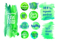 Veggi food green label. Of 100 organic, natural, farm fresh, gluten free, raw, eco. Badges for vegan restaurant, cafe menu, product packaging. Hand drawn vector Royalty Free Stock Images