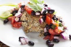 veggie сальса бургера фасоли черный Стоковая Фотография RF
