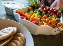 Veggie Assortment With Crackers and Dip Stock Photo