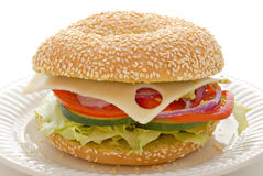 Veggie Bagel Sandwich Royalty Free Stock Image