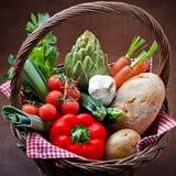 Veggie Basket. Vegetarian food market Royalty Free Stock Photo