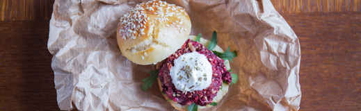 Veggie beet burger Royalty Free Stock Photo