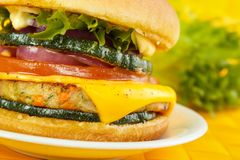 Veggie burger closeup Royalty Free Stock Images