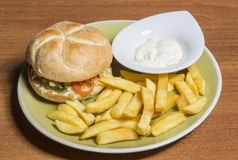 Veggie burger and french fries on plate Stock Photography