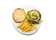 Veggie Burger with fries Royalty Free Stock Photo