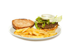 Veggie Burger with fries Stock Image