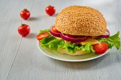 Veggie burger with salad, onion rings decorated with fresh cherry tomatoes on the gray concrete background with free copy space. Vegetarian sandwich. Side view Stock Photos