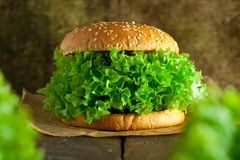Veggie burger with salat and vegetables concept. stock photography