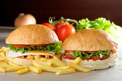 Veggie burgers with fresh vegetables Royalty Free Stock Image